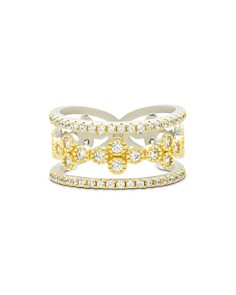 Freida Rothman - Fleur Bloom Tiered Clover Ring in 14K Gold-Plated & Rhodium-Plated Sterling Silver