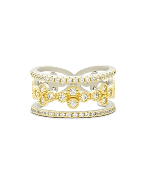 Freida Rothman Fleur Bloom Tiered Clover Ring in 14K Gold-Plated & Rhodium-Plated Sterling Silver