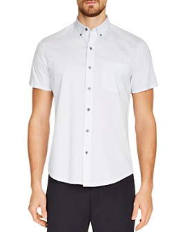 WRK - Short-Sleeve Arrow-Print Slim Fit Button-Down Shirt