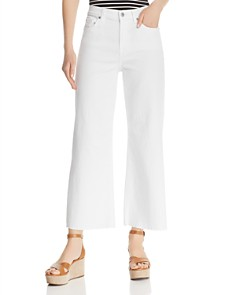 7 For All Mankind - Alexa Crop Wide Leg Jeans in White Runway Denim