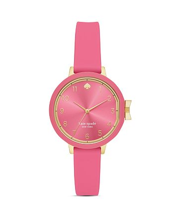 kate spade new york - Park Row Pink Silicone Strap Watch, 34mm