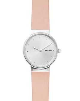Skagen - Annelie Pink Leather Strap Watch, 34mm