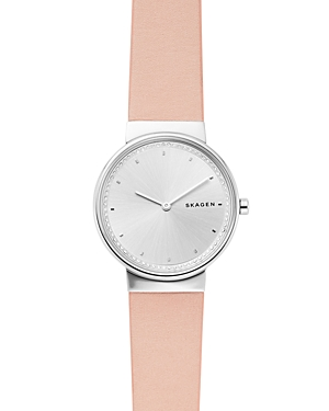 Skagen Watches ANNELIE PINK LEATHER STRAP WATCH, 34MM