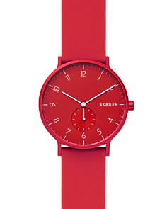 Skagen - Aaren Kulør Red Silicone Strap Watch, 41mm