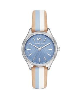 Michael Kors - Lexington Striped Leather Strap Watch, 36mm