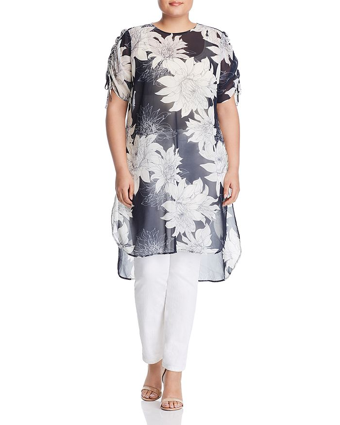VINCE CAMUTO Plus - Floral Print Drawstring-Sleeve Tunic
