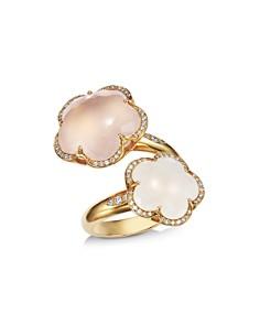 Pasquale Bruni - 18K Rose Gold Bon Ton Goddesses Milky & Rose Quartz Bypass Ring