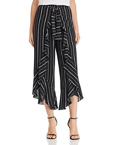 AQUA - Ruffled Striped Wide-Leg Pants - 100% Exclusive
