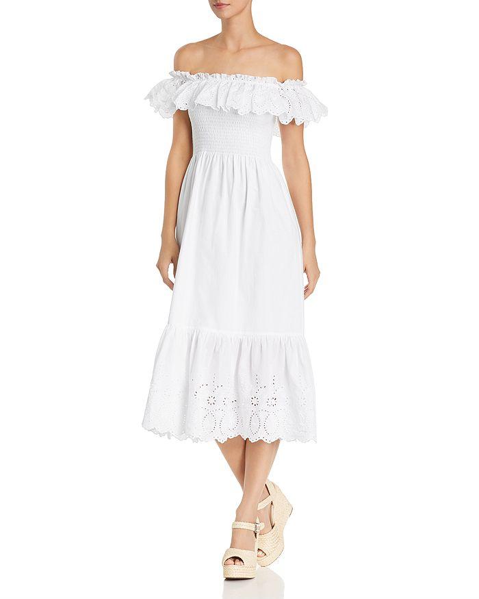 AQUA - Smocked Eyelet Off-the-Shoulder Midi Dress - 100% Exclusive