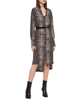 ALLSAINTS - Anya Leopard Print Shirt Dress