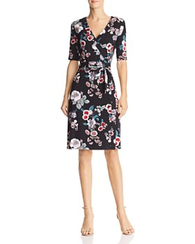 d505703f8e0 Adrianna Papell - Faux-Wrap Floral Jersey Dress - 100% Exclusive ...