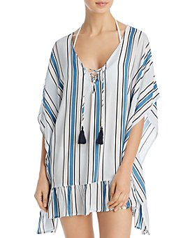 Surf Gypsy - Ruffled Lace-Up Swim Cover-Up