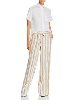 Lafayette 148 New York - Columbus Striped Wide-Leg Linen Pants