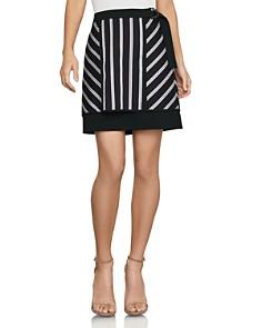 BCBGMAXAZRIA - Striped Mixed-Media Mini Skirt