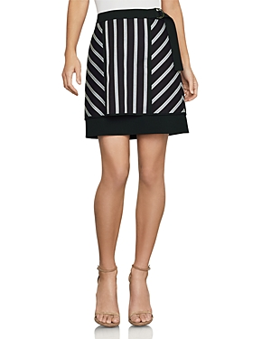 Bcbgmaxazria Striped Mixed-Media Mini Skirt