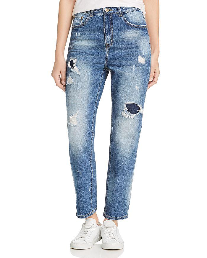Karen Kane - Distressed High Rise Girlfriend Jeans in Denim