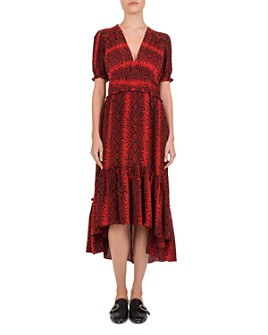 The Kooples - Red Hot Snake-Print Midi Dress