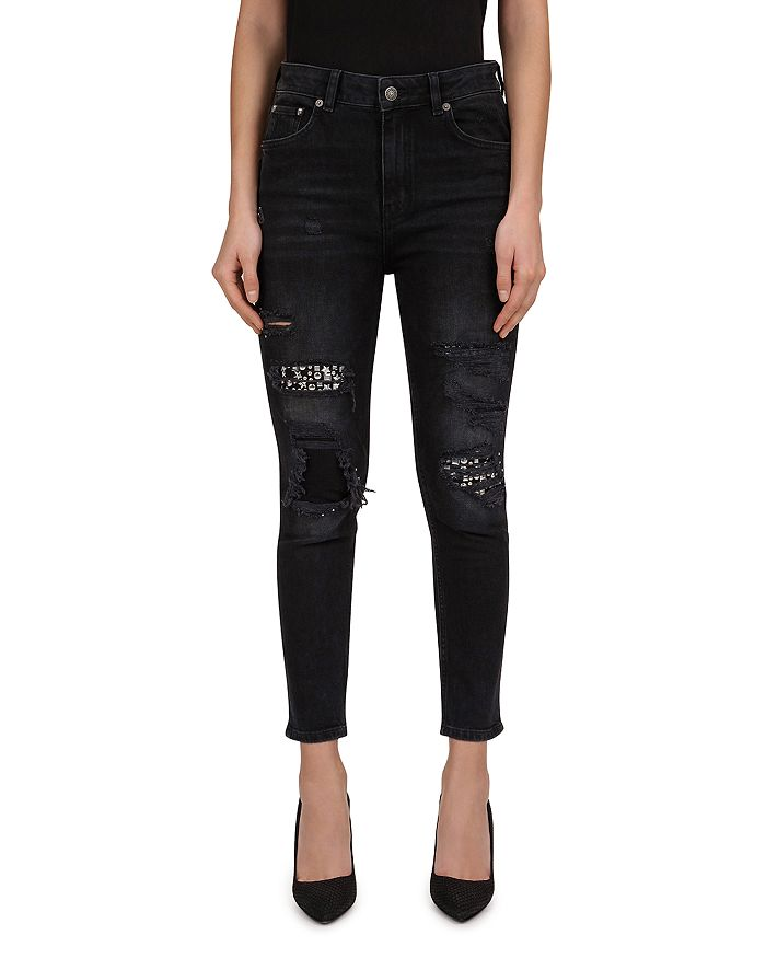 The Kooples - Distressed & Studded Jeans in Black Wash
