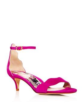 MARION PARKE - Women's Raven Scalloped Kitten-Heel Sandals