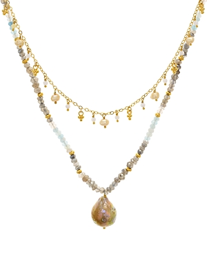 Chan Luu Multi Strand Dangle Pendant Necklace in 18K Gold-Plated Sterling Silver & Sterling Silver, 16-18