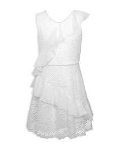 BCBGirls - Girls' Ruffled Floral-Crochet Dress - Big Kid