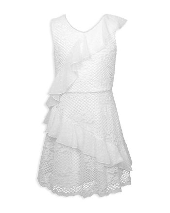 BCBGirls - Girls' Ruffled Floral-Crochet Dress - Little Kid