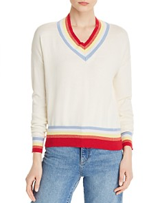 AQUA - Varsity-Stripe V-Neck Sweater - 100% Exclusive