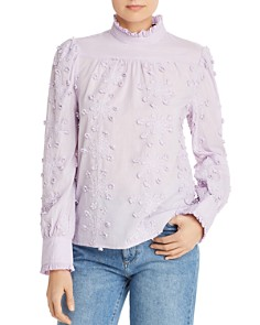 AQUA - Ruffled Embroidered Top - 100% Exclusive