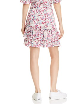 AQUA - Ruffled Floral Faux-Wrap Skirt - 100% Exclusive