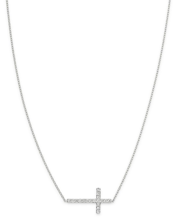 Bloomingdale's - Diamond Cross Necklace in 14K White Gold, 0.15 ct. t.w. - 100% Exclusive