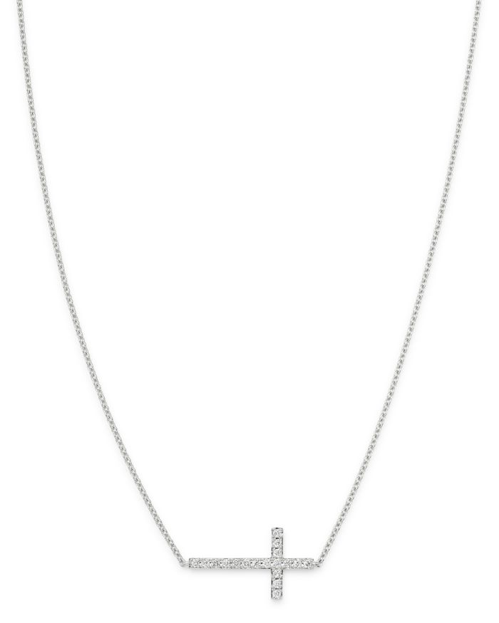 Bloomingdale's Diamond Cross Necklace in 14K White Gold, 0.15 ct. t.w. - 100% Exclusive  | Bloomingdale's