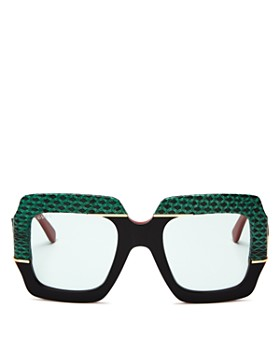 818c4b97c7a Gucci - Women s Snakeskin-Trim Square Sunglasses