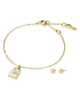 Michael Kors - Padlock Charm Bracelet & Earrings Set in 14K Gold-Plated Sterling Silver or 14K Rose Gold-Plated Sterling Silver