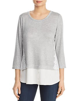 Status by Chenault - Lace-Trim Layered-Look Top