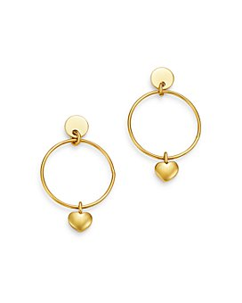 Moon & Meadow - Circle Earrings with Heart Charm in 14K Yellow Gold - 100% Exclusive