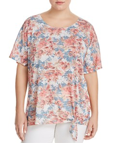 Status by Chenault Plus - Floral Print Side Tie Top