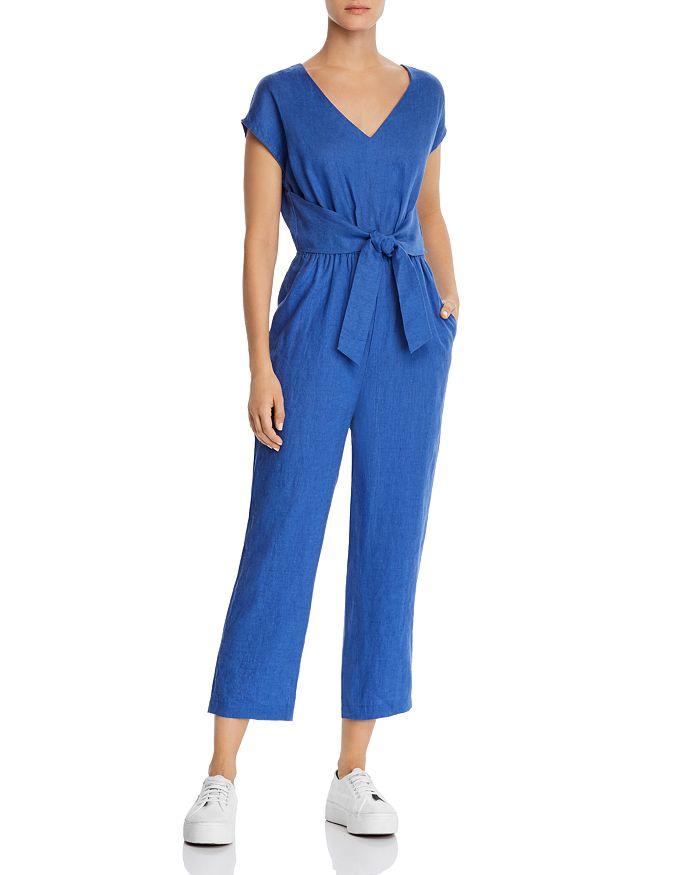 AQUA - Tie-Waist Linen Jumpsuit - 100% Exclusive
