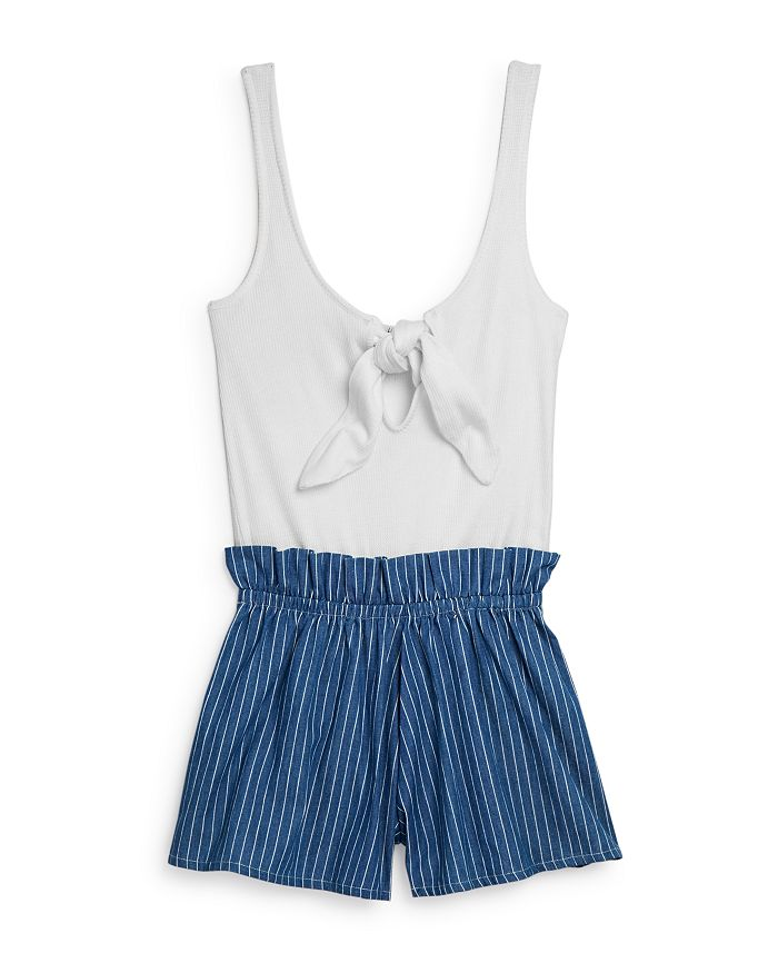 Vintage Havana - Girls' Tie-Front Striped Romper - Big Kid