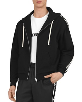 The Kooples - Fleece & Velvet Zip-Front Hoodie