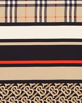 Burberry - Logo & Check Silk Scarf