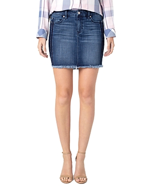 Liverpool Side-Stripe Denim Skirt