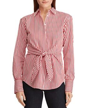 d8b9ee50894c6 Ralph Lauren - Pinstriped Tie-Waist Top ...