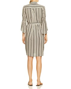 HALSTON HERITAGE - Bell-Sleeve Striped Shirt Dress