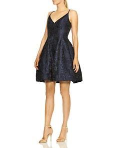 HALSTON HERITAGE - V-Neck Rose Jacquard Dress