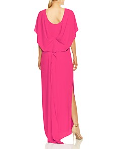 HALSTON HERITAGE - Cape Sleeve High-Neck Georgette Gown