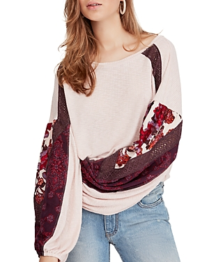 Free People Print-Sleeve Top