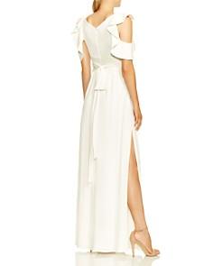 HALSTON HERITAGE - Flutter Cold Shoulder Gown