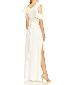HALSTON HERITAGE - Flutter Cold Shoulder Gown