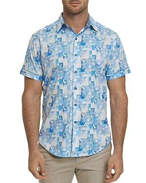 Robert Graham Athens Short-Sleeve Geometric-Print Classic Fit Shirt