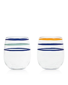 kate spade new york - Citrus Twist Stripe Stemless Wine Glasses, Set of 2